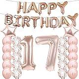 Partyzubehör zum 17. Geburtstag, Luftballons zum 17. Geburtstag, aus Rose-Gold, Zahl 17, Mylar-Ballon, Latex-Ballon-Dekoration, tolles süßes Geschenk zum 17. Geburtstag für Mädchen, Foto-Requisiten