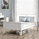 ModernLuxe Einzelbett, Holzbett 90 x 190 cm Kiefer Bettgestell mit Kopfteil & Fußteil Holzlattenrost Matratzenbasis Holzlattenrost, weiß (90 x 190 cm)