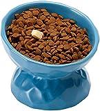 WASEY katzennapf Keramik , Futternäpfe Katzenfutter 15° Gekippte Plattform für Cat's Spine Protection, Katze Futterstation Hundenapf für kleine Hunde und Katzen (blau)
