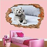 3D Wandaufkleber Muschi CAT Cute Kitten S Kunst Wandbild Büro Poster Dekor Kunstdruck Poster Dekor 60x90cm