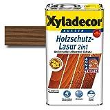 Xyladecor® Holzschutz-Lasur 2 in 1 Nussbaum 5 l - Wetterschutz | farbbeständig | Dünnschicht Lasur