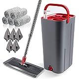 Masthome Wischmopp und Putzeimer Set mit 5 Mopp Pads,Mikrofaser Mopp Haushalten und Büros Bodenreinigung Flachmopp - Hergeben 5 Reinigungstuch