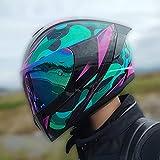 QAZX Grüner Schaumstoff-Aufkleber für Erwachsene, Männer und Frauen, rund, Integralhelm, Integralhelm, ATV Cruiser, schneller Downhill-Schutz, DOT/ECE-Standard, S