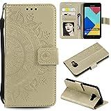 FEYYXI Handyhülle für Galaxy A3 (2016) Hülle Leder Schutzhülle Brieftasche mit Kartenfach Stoßfest Handyhülle Case für Samsung Galaxy A3 2016 - FEHH10140 Gold