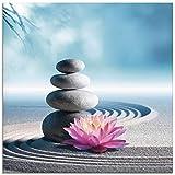 Artland Glasbilder Wandbild Glas Bild einteilig 20x20 cm Quadratisch Asien Wellness Zen Steine Sand Blumen Lotusblume Spa Entspannung Blau S5XU