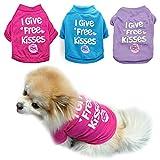 PETCARE T-Shirt für Hunde und Katzen, Baumwolle, atmungsaktiv, bedruckt, für kleine Hunde, Chihuahua, Yorkie, Shih Tzu, 3 Stück