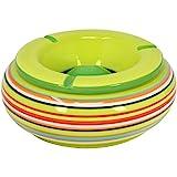 com-four® Windaschenbecher aus Dolomit Keramik in blau, grün, orange mit jeweils bunten Streifen [Farbauswahl variiert] (01 Stück - Ø 19.5cm)