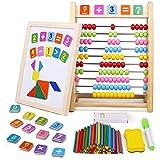 Abakus Rechenschieber Montessori Spielzeug Magnettafel Magnetisches Holzpuzzle Kindertafel Rechenstäbchen Grundschule Tafel Kinder Holzspielzeug Geschenk Kinderspiele ab 3 4 5 Jahren Jungen Mädchen