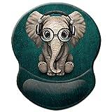 ITNRSIIET Gaming Mauspad Ergonomisch, Mousepad mit handauflage, Mouse Pad mit Lycra-Stoff, rutschfeste PU-Basis für Computer Gamer, Laptop, Heim, Büro & Reisen,Süßer Elefant