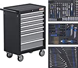 BGS 4062   Werkstattwagen   mit 263 Werkzeugen   7 Schubladen   gefüllt   abschließbar   massives Metall