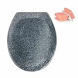 WENKO WC-Sitz Ottana Granit, antibakterieller Toilettendeckel mit Easy Close Absenkautomatik, inklusive rostfreier Edelstahlbefestigung mit Fix-Clip und 2 GRATIS Schwämme in Weiß/Rot