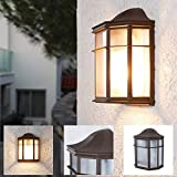 LHG Wandleuchte 25,2 cm, Wand-Laterne rustikaler Landhaus-Stil, antike Außenleuchte, Terrassenbeleuchtung in klassischer Form, braune Außenwandleuchte E27 + Wandlampe IP23 + dimmb