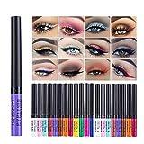 Allbesta 12 Farben Bunt Liquid Eyeliner Set Matte Wasserfest Make Up Set Rainbow High Precise Liner