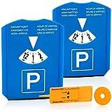 com-four® 2X Parkscheibe mit Eiskratzer, Gummilippe, Einkaufswagenchip und Reifenprofilmesser - Parkuhr aus Kunststoff (02 Stück - Parkscheibe mit Chip+Profilmesser)