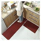 JJYGXYG Rutschfeste Küchenmatte für den Boden, moderner Badteppich, Eingangsmatte, Wohnzimmer-Teppiche für Schlafzimmer, gestreift, lange Küchenteppiche (Farbe: Weinrot, Größe: 40 x 60 cm (1 Stück)