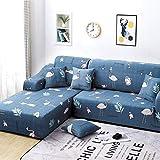 WLVG Stretch Sofa Schonbezug, L-Form Couch Sofabezug mit Seilboden Waschbar für 1 2 3 4 Sitzkissen Couch Hund Cat-L-Stuhl 90-140CM (35-55inch)