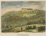 H. W. Fichter Kunsthandel: BROCKHAUS, Blick auf die Hinnenburg, 19. Jh, kolorierter H