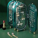 Schmuck-Aufbewahrungsbox für Ohrringe, Ohrringe, Halsketten, Schmuckschatulle, Zuhause, Schreibtisch, exquisiter High-End-Display-Ständer, Grün