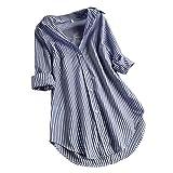 Gestreift Blusen, Dasongff Damen Striped Tunika Tops Button-down Langarm Bluse Hemd Lose Top Oberteile Elegante Sommertop Unregelmässiges Schicke Longshirt (Navy, XL)
