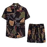 Herren Sommer Print Kurzarm Shirt Shorts Set Anzug Gym Training Angenehm Freizeitshorts Kurze Sommer Hose Outdoor Sport Zweiteiliger Kurzärmeliger Shorts-Anzug für Herren