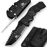 Wolfgangs UNDIQUE Zweihand-Messer Set aus 440C Stahl - LEGAL in Deutschland zu führen - Survival-Messer mit Multifunktions-Klinge - Outdoor-Messer Klapp-Messer - Taschen-Messer - Mit Messerschärfer
