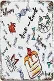 Halloween-Thema Katze Eule Fledermaus Krähe Kerze Zeichnung, Vintage Metall Zinn Zeichen Wanddekor Kunst 15.7 'x11.8' Familie Cafe Wanddekoration
