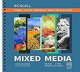 GCQUILL Zeichenblock, 60 Blatt, 22,6 x 21 cm, 200 g/m², Spiralbindung, für Acryl, Aquarell, Stift und Bleistifte und mehr GC-MP8983