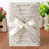 Hosmsua 20x Silber Hochzeit EinladungsKarten Für Lasercut Elegante Blume Spitze Glückwunsch Einladung Karten , 20 Stück inkl Umschläge (Silberfarbener Glitzer)