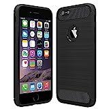 Anjoo Kompatibel für iPhone 6/6s Hülle, Carbon Fiber Texture-Inner Shock Resistant-Weich und Flexibel TPU Cover Case für iPhone 6 iPhone 6s, Schwarz - 4.7 Zoll