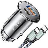 AINOPE Auto Ladegerät USB C [Kommt mit USB C zu C Kabel], 42W PD&QC 3.0 Zigarettenanzünder USB,Schnell Metall USB kfz Ladegerät für iPhone 12/12 Pro/12 Mini/11/11 Pro/XR/XS/8/8 P, Samsung S10/S9