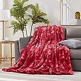 Hansleep Kunstfell-Decke mit wendbarem Sherpa, superweicher flauschiger Überwurf, Decke für Sofa, Couch, Bett, leichte warme Decke, ganzjährig verwendbar (Burgund, Twin)