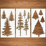 Weihnachtsbaum Schablonen, hohe Tanne Kiefer Kiefer Zypresse Zeder Herbst Wandschablone 3 Packungen für Möbel Leinwand Wohnkultur Handwerk Bäume Wiederverwendbare Mylar Schablonen 15x30