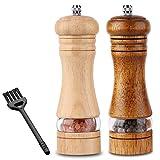 C100AE 2er-Set Pfeffermühle und Salzmühle Set, Gewürzmühlen, Pfeffermühlen aus Holz, Salz und Pfeffer Mühle mit Keramikmahlwerk, Unbefüllt, mit Reinigungspinsel, H 16.5 cm