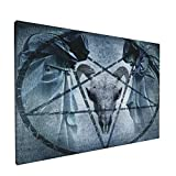 PATINISA Dekorative Malerei,Horror House Artwork mit Pentagramm Ziegenschädel Devil Dream Hooded Exorzist Image,Wand Poster Drucke Wandkunst Leinwand Wandbild Für Wohnzimmer 12x18inch