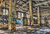 Leyiyi Abandoned Factory Kulisse Grunge Graffiti Wand Vintage Ölgemälde Ruine House Interior Old Room Holz Struktur Fotografie Hintergrund Western Cowboy Foto Portrait Vinyl Studio Prop