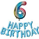 DIWULI, XL Zahlen-Ballon blau bunt Zahl 6 + Happy Birthday Buchstaben-Ballons, Geburtstagsballons Folien-Luftballons Nummer Nr Jahre, Folien-Ballons 6. Geburtstag, Party, Dekoration, Geschenk-Deko