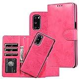 SUMOON Samsung Galaxy S20 Plus Flip-Case magnetisch, Faxu Leder Folio-Hülle, abnehmbare Brieftasche mit Kartenhalter, Geldbeutel, Handschlaufe, Buch-Stil, S20+ Hülle stoßfest für Damen/Herren, Rosa