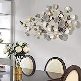 WSND 3D Modern Stil Wanddeko Metall, luxuriös Metall Wandschmuck, Wandobjekt Blätter, Wanddekoration Gold Antikoptik, 134 * 65