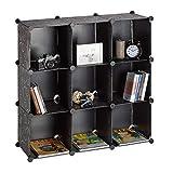 Relaxdays Regalsystem 9 Fächer, Raumteiler Kunststoff, Standregal offen, Badregal DIY, HBT: 95 x 95 x 32 cm, schwarz