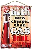 Agora Gifthouse Blechschild Retro Beer Now Cheaper Than Gas Geschenk Magnet Metall Schild lustiger Spruch Vintage Türschilder Nostalgie Deko Hausbar Hobbyraum Mencave Männerhöhle 40x29 cm