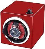 JJDSN Automatische Uhrenbeweger-Displaybox mit super leisem Motor, Holzschalen-Klavierfarbe außen, schwarz/rot/orange