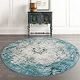 Loartee Vintage Bohemian Runde Teppich für Wohnzimmer Esszimmer, grün, Round 4 ft /120