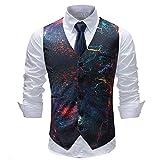 BAIZAN Slim Fit Anzug Single Breasted Weste, Vintage Gedruckt V-Ausschnitt Weste, Slim Fit Anzug Einreiher Weste,8,XL
