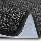 casa pura Teppich Läufer Carlton   Flachgewebe dezent Gemustert   Teppichläufer in vielen Größen   als Küchenläufer, Flurläufer   mit Stufenmatten kombinierbar (Anthrazit - 66x100 cm)