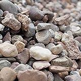 Holtaz Garten-Ziersteine, Kies für Garten Deko, Dekoration Steine für Gartentöpfe Blumentopf Kieselsteine Edelsplitt in Big Bag Kastanienbrauner Kies(auch als gespülter Stein bezeichnet)16-22mm 500kg