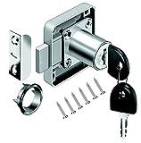 Schrankschloss Möbelschloß Zylinder-Möbelschloss Aufschraubschloss mit Schlüssel Set für Schubladen & Schränke | Stahl vernickelt | Dornmaß: 22mm 26mm 32mm (26mm)