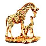 TRI Deko Giraffenfamilie, Deko-Figur Tierfigur Giraffe Mama & Kind, Giraffen & Akazie, detailreiche Holzoptik, Kunststein, 16 x 7 x 19