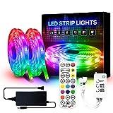 YMXLJJ 10M LED-Lichtstreifen-Musiksynchronisation, RGB-Farbwechsel-Lichtstreifen, 5050 RGB-LED-Streifen für Wohnheim, Fernseher, Räume (24-Tasten-Musikfernbedienung + Bluetooth-Controller),A24 22