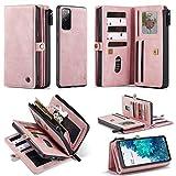 Kompatibel mit Samsung Galaxy A42 5G Brieftaschen-Schutzhülle, 2-in-1 PU-Leder, abnehmbare magnetische 17 Kartenfächer und Handgelenkschlaufe, vollständiger Schutz für Geldbörse, Rosa