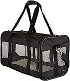 Amazon Basics Transporttasche für Haustiere, weiche Seitenteile, Schwarz, Größe L
